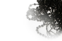 Beautiful black bead necklaces on a white background Royalty Free Stock Images
