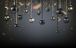 Beautiful black christmas balls. Luxury decoration with balls winter holiday background. Dark Christmas template for banners, advertising, leaflet, cards Royalty Free Stock Image