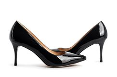Beautiful black classic women shoes  Royalty Free Stock Photo