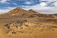 Beautiful black desert landscape. Landscape of the black desert in Egypt Royalty Free Stock Photo