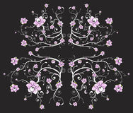 Beautiful black floral background. Vector illustration of a beautiful floral pattern background with vivid pink flowers Royalty Free Stock Photo