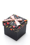 Beautiful black gift box with hearts shape Stock Image