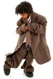 Beautiful Black Girl Child in Baggy Business Suit royalty free stock image