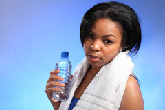 Beautiful black girl cools off after exercise Royalty Free Stock Photos