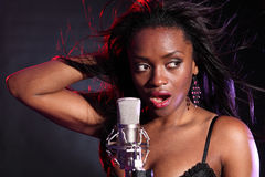 Beautiful Black Girl Makes Music Singing On Stage Royalty Free Stock Photo