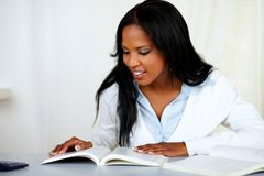 Beautiful black girl studying Stock Photos