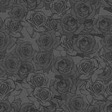 Beautiful black, gray and white rose flower, seamless pattern. Botanical hand drawn silhouette. Flat stylization color. Vector illustration Stock Photo