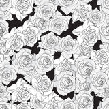 Beautiful black, gray and white rose flower, seamless pattern. Botanical hand drawn silhouette. Flat stylization color. Vector illustration Stock Image