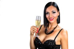 Beautiful black hair woman holding glass of champagne Royalty Free Stock Photos
