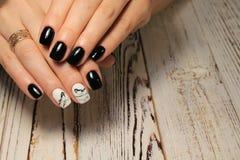 beautiful black manicure stock image