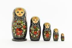 Beautiful black matryoshka dolls Stock Photos