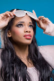 Beautiful black model wearing fancy sunglasses Stock Images