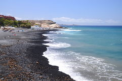 Beautiful black sand Playa de la Enramada in Adeje on Tenerife Stock Photo