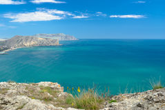 Beautiful Black Sea near Sudak town in Crimea Stock Photography