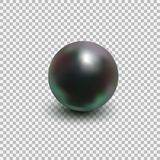 Beautiful black shiny sea pearl. Spherical beautiful 3D orb with transparent glares and highlights. Jewelry gemstones. Isolated vector illustration on Royalty Free Stock Photo
