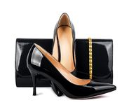 Beautiful  black shoes with clutches Stock Photo