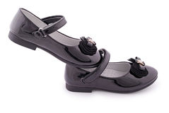 Beautiful black shoes for kids (Clipping path) Stock Images