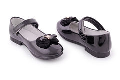 Beautiful black shoes for kids (Clipping path) Royalty Free Stock Image