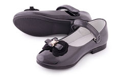 Beautiful black shoes for kids (Clipping path) Royalty Free Stock Photo
