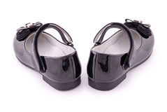 Beautiful black shoes for kids (Clipping path) Stock Image