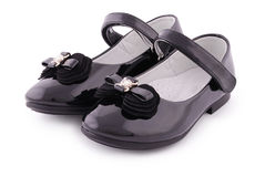 Beautiful black shoes for kids (Clipping path) Royalty Free Stock Images