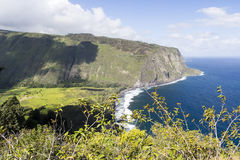 Beautiful black stone beach - waipio valley, hawaii. Island Royalty Free Stock Image