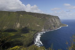 Beautiful black stone beach - waipio valley, hawaii. Island Royalty Free Stock Photography