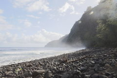 Beautiful black stone beach - waipio valley, hawaii Stock Image