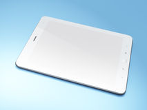 Beautiful black tablet pc on blue background. 3d render Royalty Free Stock Photography