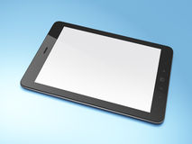 Beautiful black tablet pc on blue background. 3d render Stock Photo