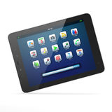 Beautiful black tablet pc on white background. High-detailed black tablet pc on white background, 3d render Stock Photos