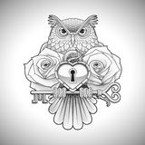 Beautiful black tattoo design of an owl holding a key with a heart locket and roses Royalty Free Stock Photography