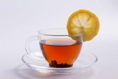 Beautiful black tea with lemon. Stock Image