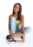 Beautiful Black Teenage Girl With School Books Royalty Free Stock Images