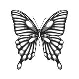 Beautiful black and white butterfly. with watercolor effect Stock Photo