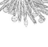 Beautiful black and white Christmas Balls Hanging on a Christmas tree branch. Royalty Free Stock Photos