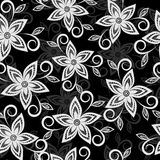 Black and white floral background. lace flowers embroidered cutwork Stock Photo
