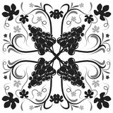 Beautiful black and white floral background Stock Images