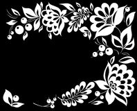 Beautiful black and white  flower in the corner. Royalty Free Stock Photos