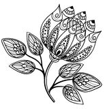 Beautiful black and white flower, hand drawing Royalty Free Stock Image