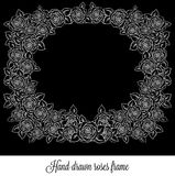 Beautiful black and white frame. Made of roses with outlines. Hand-drawn contour lines and strokes. Sketch engraving style monochrome flowers and leaves Stock Photos