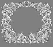 Beautiful black,white and gray frame. Made of garden roses. Hand-drawn contour lines and strokes. Sketch engraving style monochrome flowers and leaves Stock Photography