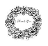 Beautiful black and white hand drawn vintage style round floral Stock Photography