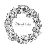 Beautiful black and white hand drawn vintage style round floral Royalty Free Stock Photo