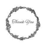 Beautiful black and white hand drawn vintage style round floral Stock Photos