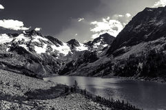 Beautiful black and white landscape and high snowy mountains stock photography