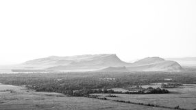 Beautiful black and white mountain landscape, old grainy effect Royalty Free Stock Photo