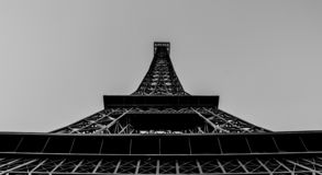 Beautiful black and white photo of a small copy of the Eiffel Tower. royalty free stock photos