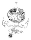 Beautiful black and white pumpkin with decorative ornament. Royalty Free Stock Photos