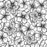 Beautiful black and white seamless background with branches of flowering trees and butterflies. Hand-drawn contour lines and strokes. Perfect for background Stock Photography